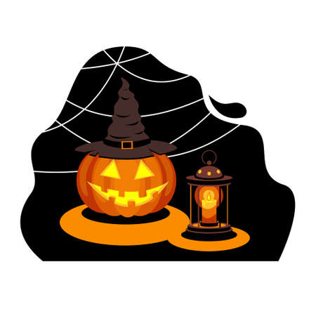 Jack lantern pumpkin in witch hat Halloween symbol, candle and spider web. Stock vector illustration.