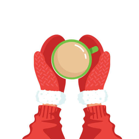 Hands in red mittens hold a cup with a hot drink isolated on a white background, top view. Vector stock illustration.