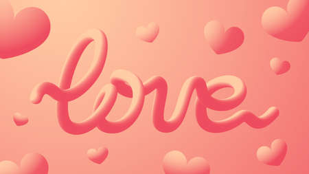 Volumetric inscription love and hearts abstract 3D background. Love concept, Valentine's Day. Banner design, wallpaper. Stock illustration.