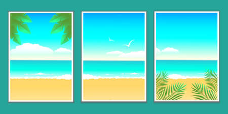 Set of summer nature backgrounds and sea tropical landscape. Summer vacation and travel concept.Design for flyer, poster, advertising leaflet, greeting card and banner. Vector stock illustration.
