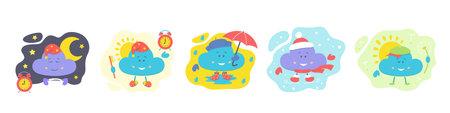 Character cloud set, night and morning, season. Children's stock vector illustration.