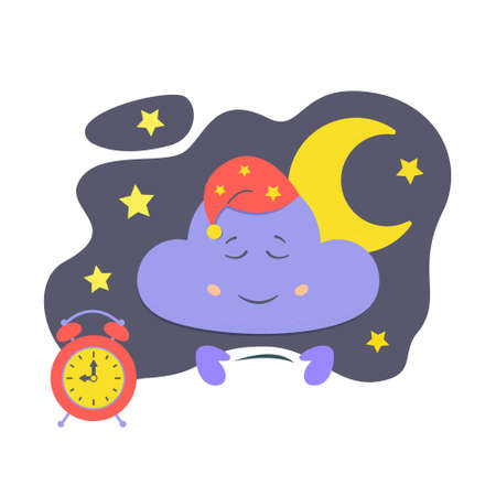 Character sleeping cloud in the night sky, moon and alarm clock. It's time to go to bed concept. For illustrating children's products, books. Stock vector illustration.