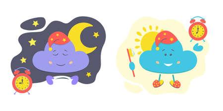 Character cloud set, sleeping and waking up, night and morning. Children's stock vector illustration. Vektorgrafik