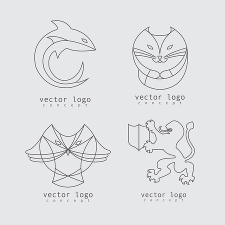 agressive: illustration of company icon set with lion, owl, shark and fox in line design style