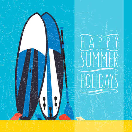 happy summer: illustration of stand up paddle boards and paddles set in flat design style with hand drawn signature happy summer holidays on textured background as template for your design, article or print
