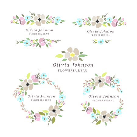 illustrazione di tipo floreale set con ghirlande e fiori. Modello per cartolina, salvare la scheda data o disegno personale.