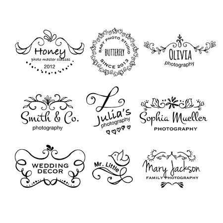 photography logo: Vector collection of photography hand drawn logo templates. Wedding, family, children photographer logotypes. Photography vintage badges and icons. Hand sketched modern icons. Photo labels.