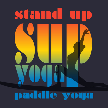surf board: Vector flat design style hand drawn illustration of signature: Stand Up Paddle Yoga. Woman silhouette on SUP. Template for postcard, personal card, etc. T-Shirt print design.