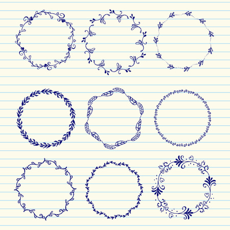 leaf line: Hand drawn set of vintage elements, flowers and leaves, birds, ribbons and ornaments. Vector hand sketched wreaths. Decoration for your wedding design, scrapbooking elements, postcards and logos