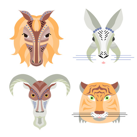 year of the tiger: Vector illustration of geometrical flat design style animal portraits. Vector heads of rabbit, horse, tiger and goat. Chinese new year calendar icon set Illustration
