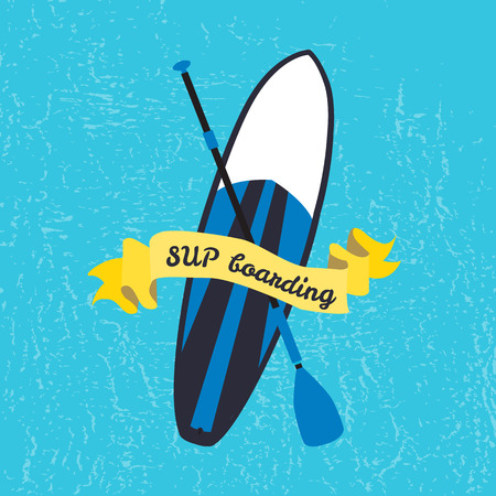 sup: Vector illustration of stand up paddle board and paddle in flat design style. Signature SUP boarding on textured background. Template for your design, article or print Illustration