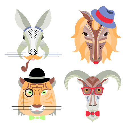 chinese new year rabbit: Vector illustration of geometrical flat design style hipster animal portraits. Vector heads of rabbit, horse, tiger and goat. Chinese new year calendar icon set Illustration