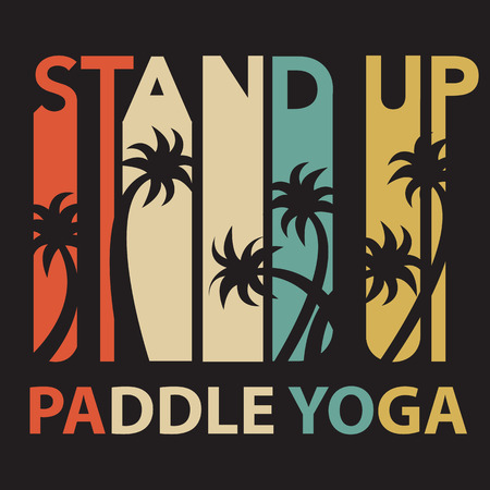hand stand: Vector flat design style hand drawn illustration of signature: Stand Up Paddle Yoga. Template for postcard, personal card, etc. T-Shirt print design. Illustration