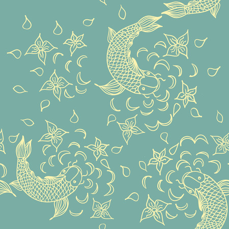 oceanside: Vector seamless pattern with hand drawn fishes, flowers and water waves. Doodle fountain background. Sketched tropical sea life design. Illustration