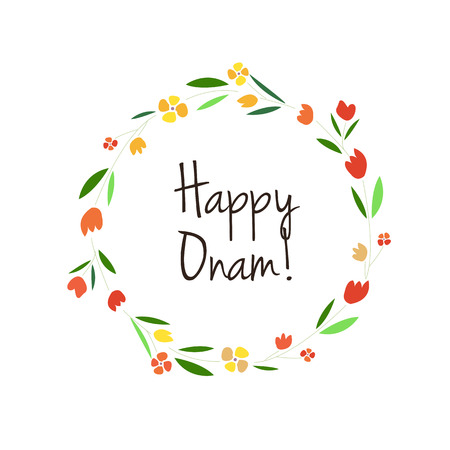 onam: Vector illustration of card deducted to Onam. Indian motive artwork. Folk art template. Illustration