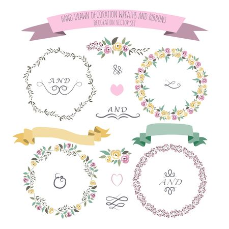 illustration of colorful flat design style floral frames, ribbons and wreaths set with signature as a template Vettoriali