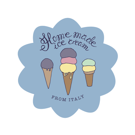hand drawn sketched illustration of hand-made ice cream