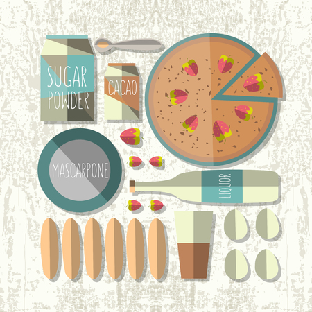 colorful illustration of flat design style tiramisu recipe with ingredients on textured background as a template