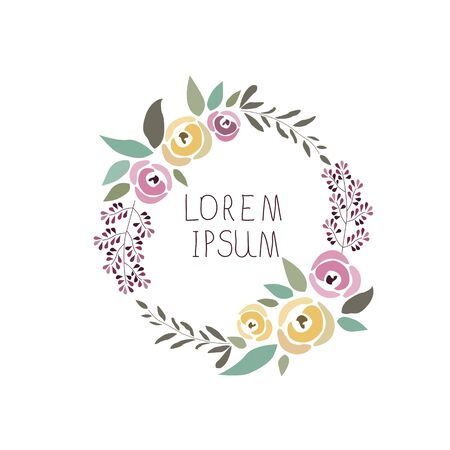 illustration of a floral wreath with signature