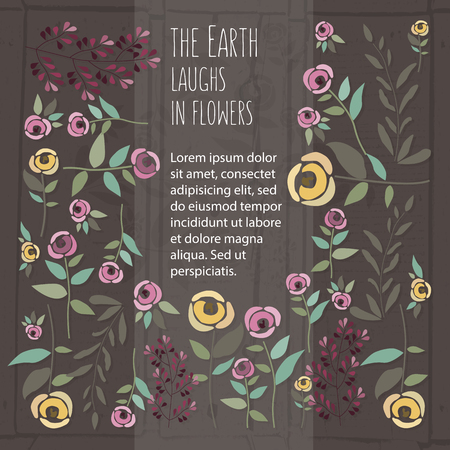 illustration of floral template in flat design style with roses, signature and text on textured wood background