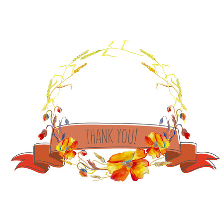 Hand painted watercolor illustration of wreath with poppies, grass, ribbon and leaves