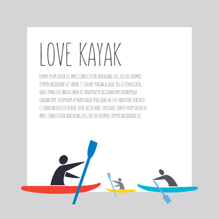 flat design style illustration with signature  love kayak, text and a men with kayaks in flat design style on grey background