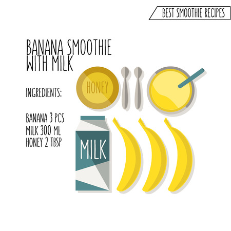 illustration of banana smoothie with milk recipe hand drawn in flat design style with shadow