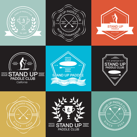 Set of different templates for stand up paddling. athletic labels and badges Ilustrace
