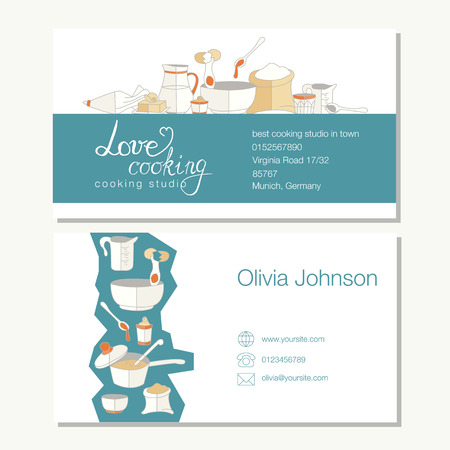 business template with cute hand drawn kitchen utensils illustrations Vettoriali