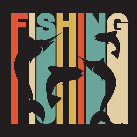 hand line fishing: illustration of colorful flat design style signature fishing with swordfish and salmon silhouettes