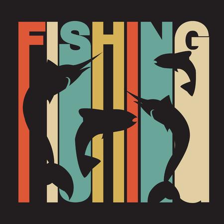 """pescando: ilustraci�n de dise�o plano estilo de la firma """"pesca"""" de colores con pez espada y salm�n siluetas Vectores"""