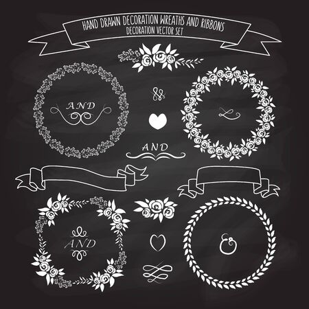 illustration of flat design style floral frames, ribbons and wreaths set with signature on blackboard background