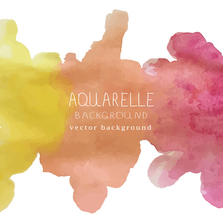 illustration of watercolor background with text and signature Vettoriali