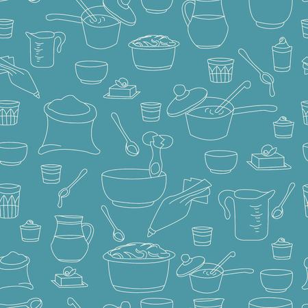 illustration of kitchen utensils as a seamless pattern Ilustrace