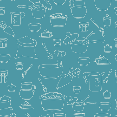 illustration of kitchen utensils as a seamless pattern Vettoriali