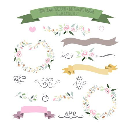 illustration of colorful flat design style floral frames, ribbons and wreaths set with signature as a template Ilustrace