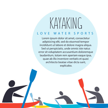 flat design style illustration with signature  love kayak, text and men with kayaks in flat design style on white background
