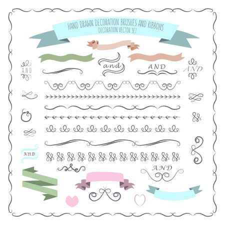 illustration of hand drawn decorative brushes, elements and ribbons as templates for outstanding design