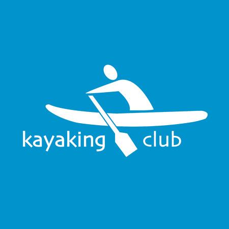 flat design style illustration of signature Kayaking Club and man with kayak on textured background Ilustrace