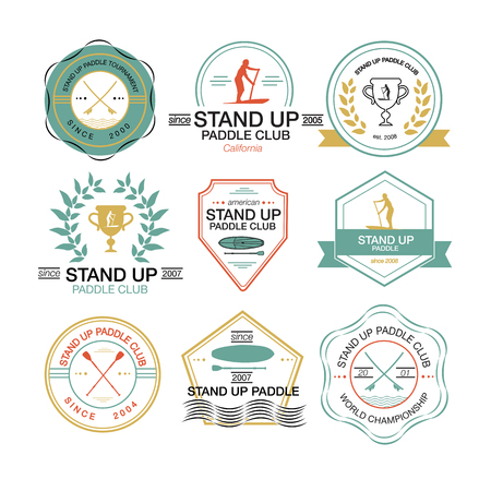 Set of different templates for stand up paddling. athletic labels and badges Vettoriali