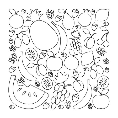 illustration of fruit set in flat linear design style