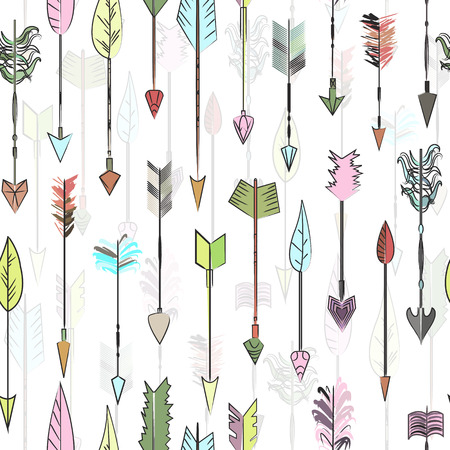 Hand drawn colored arrows collection. Doodle ethnic indian arrow seamless pattern