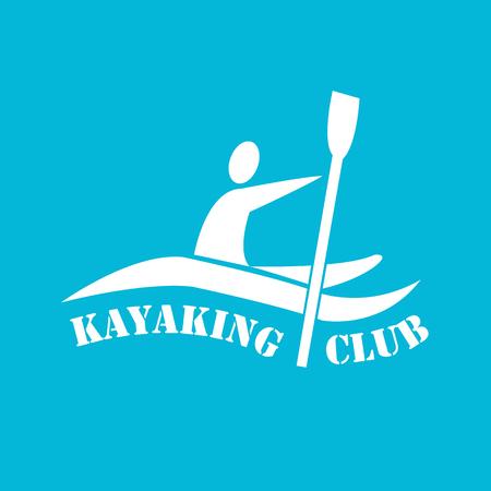 flat design style illustration of signature Kayaking Club and man with kayak on colored background Ilustrace
