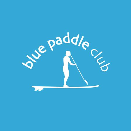 flat design style illustration of stand up paddle club