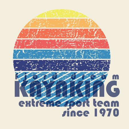 illustration with signature Kayaking extreme team in flat design style on textured background