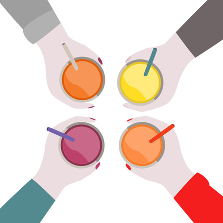 colorful illustration of fruit cocktails in hands with view from the top
