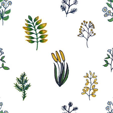 illustration of colorful hand painted herbal seamless background Ilustrace