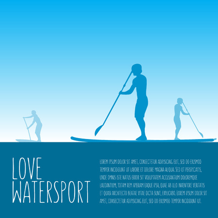 illustration of three men silhouettes with stand up paddle boards and paddles on the colorful blue background with signature and text