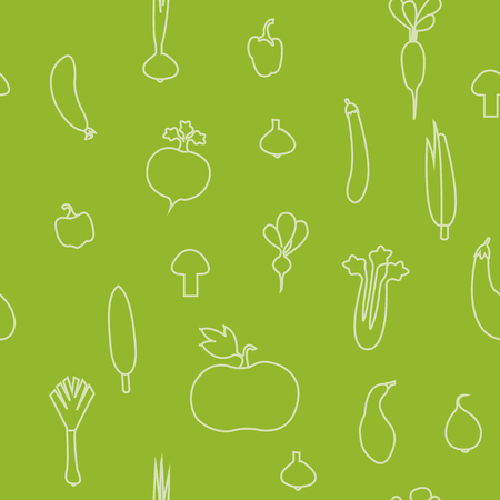 vector illustration of a seamless pattern with vegetables silhouettes Ilustrace