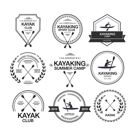 Set of different templates for kayaking. athletic silhouette labels and badges